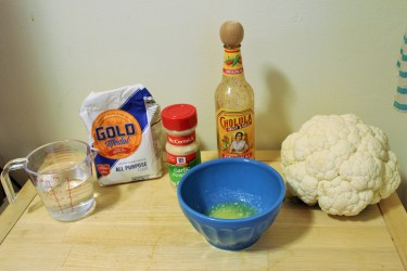Ingredients for buffalo cauliflower bites.